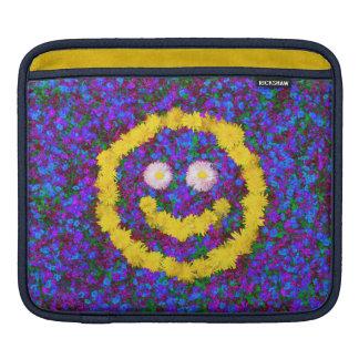 幸せなスマイリーフェイスのタンポポの花 iPadスリーブ