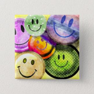 幸せなスマイリーフェイスボタン 5.1CM 正方形バッジ