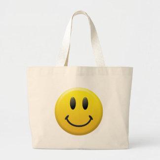 幸せなスマイリーフェイス ラージトートバッグ