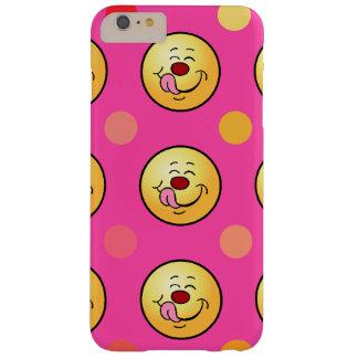 幸せなスマイリー及び水玉模様は背景をカスタマイズ BARELY THERE iPhone 6 PLUS ケース
