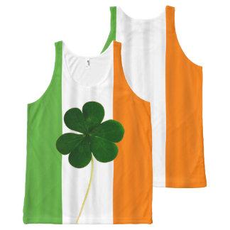 幸せなセントパトリックの日のアイルランドの旗のシャムロックの水田 オールオーバープリントタンクトップ