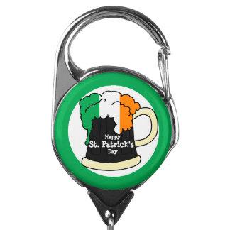 幸せなセントパトリックの日、アイルランドの旗ビール泡 IDカードホルダー