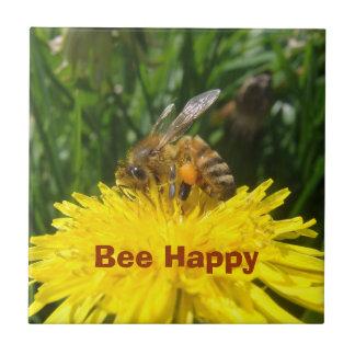 幸せなタンポポの蜂 タイル