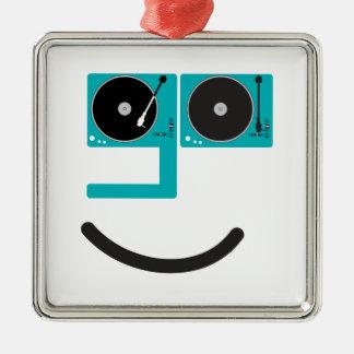 幸せなターンテーブルの顔 メタルオーナメント
