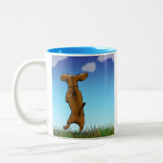 幸せなダックスフントのマグ ツートーンマグカップ