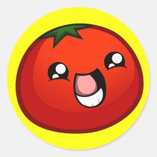 幸せなトマトのステッカー ラウンドシール