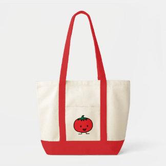 幸せなトマトの赤い野菜フルーツ トートバッグ