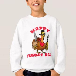 幸せなトルコ日のTシャツ、フード付きスウェットシャツは、発汗します スウェットシャツ