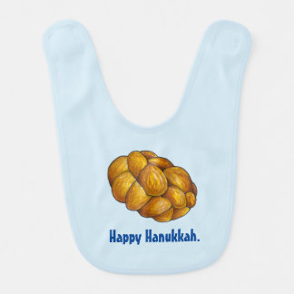 幸せなハヌカーのハヌカー(ユダヤ教の祭り)のハッラーのパンのよだれかけ ベビービブ