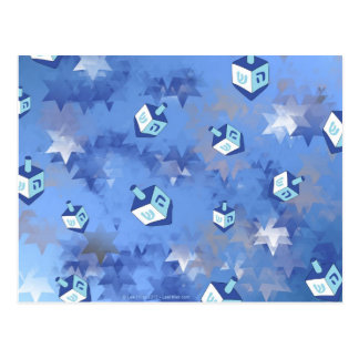 幸せなハヌカーの落下星およびDreidels ポストカード
