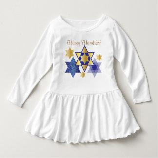 幸せなハヌカー金ゴールド及び青いダビデの星 ドレス