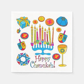 幸せなハヌカー-ハヌカー(ユダヤ教の祭り)のナプキン スタンダードカクテルナプキン