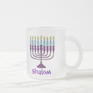 幸せなハヌカーShalom フロストグラスマグカップ