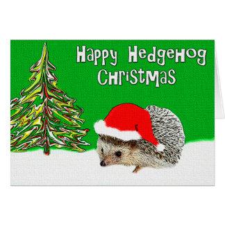 幸せなハリネズミのクリスマスの挨拶状 グリーティングカード