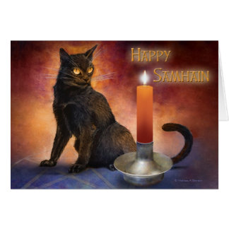 幸せなハロウィンの子ネコおよび蝋燭 カード