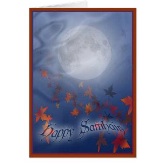 幸せなハロウィンの月及びベール カード