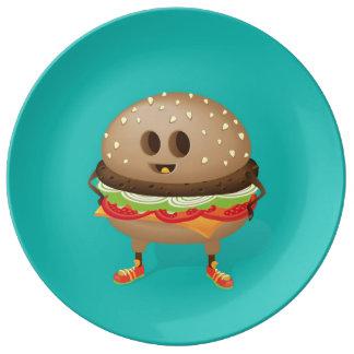 幸せなハンバーガーの磁器皿 磁器プレート
