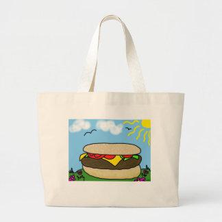 幸せなハンバーガー日のバッグ ラージトートバッグ
