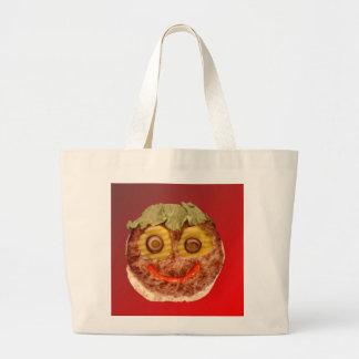 幸せなハンバーガー ラージトートバッグ