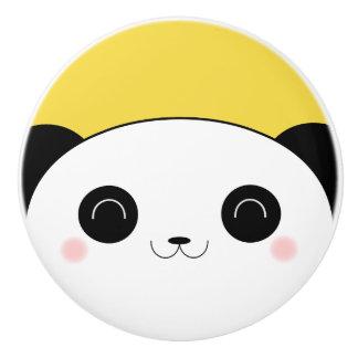 幸せなバラ色のCheekedのかわいいのパンダの顔 セラミックノブ