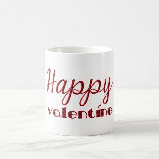 幸せなバレンタインの赤く黒いキューピッドのタイポグラフィ コーヒーマグカップ
