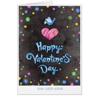 幸せなバレンタインデーのタイポグラフィのかわいい鳥及びハート カード