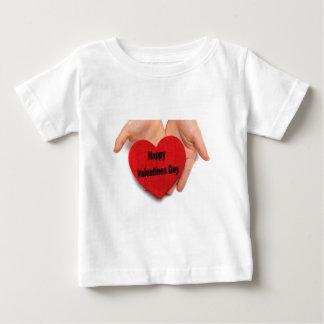 幸せなバレンタインデー手 ベビーTシャツ