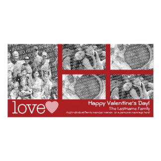 幸せなバレンタインデー- 5つの写真のコラージュ カード
