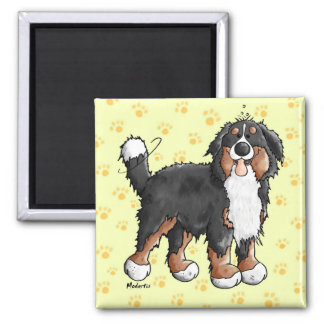 幸せなバーニーズ・マウンテン・ドッグの漫画の磁石 マグネット