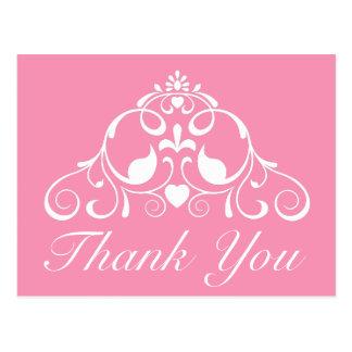 幸せなピンクおよび白いスクロールは感謝していしています ポストカード