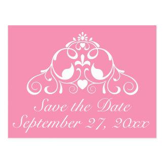 幸せなピンクおよび白いスクロール保存日付 ポストカード