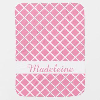幸せなピンクおよび白い格子ストライプおよび水玉模様 ベビー ブランケット