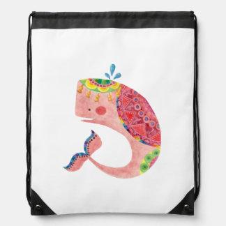 幸せなピンクのクジラ ナップサック