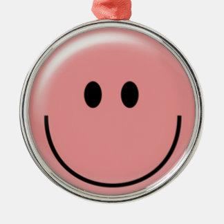 幸せなピンクのスマイリーフェイスの円形のオーナメント シルバーカラー丸型オーナメント