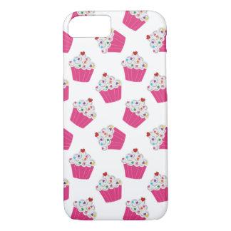 幸せなピンクのハートのカップケーキ-甘く大きいパターン iPhone 8/7ケース