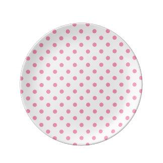 幸せなピンクの水玉模様 磁器プレート