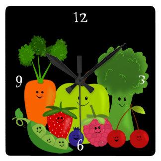 幸せなフルーツおよび野菜の柱時計 スクエア壁時計