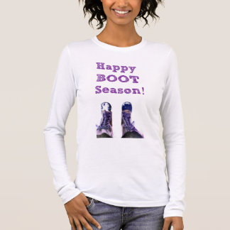 幸せなブーツの季節の長袖のティー 長袖Tシャツ