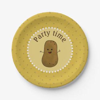 幸せなポテトのパーティーの時間 ペーパープレート