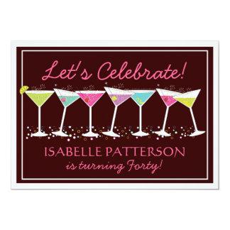 幸せなマルティーニのマイル標石の誕生日のパーティの招待状 カード