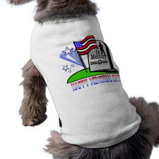 幸せなメモリアルデー-旗の墓石の衣類 ペット服