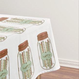 幸せなメーソンジャーおよびわらのピクニックテーブルクロス テーブルクロス