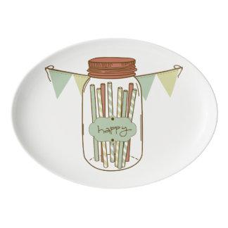 幸せなメーソンジャーおよび花輪の大皿 磁器大皿