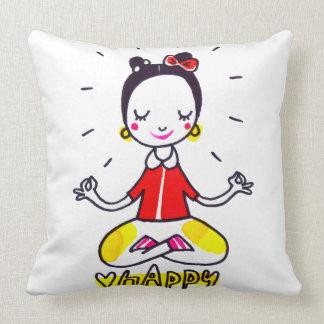 幸せなヨガの休日の枕 クッション