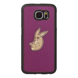 幸せなラベンダーのウサギのピンクの目インクスケッチのデザイン ウッドケース