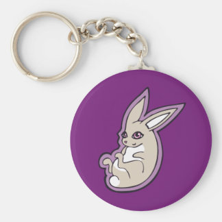 幸せなラベンダーのウサギのピンクの目インクスケッチのデザイン キーホルダー