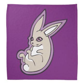 幸せなラベンダーのウサギのピンクの目インクスケッチのデザイン バンダナ