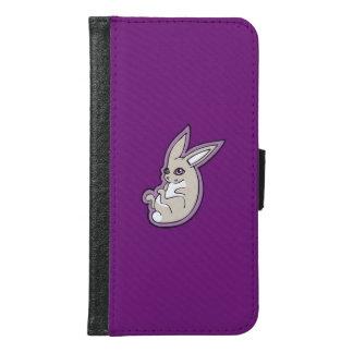 幸せなラベンダーのウサギのピンクの目インクスケッチのデザイン GALAXY S6 ウォレットケース