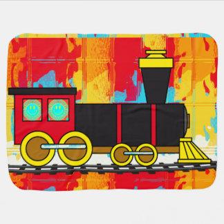 幸せなロコモーティブの列車 ベビー ブランケット
