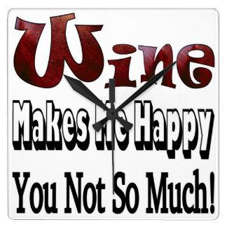 幸せなワインの時計 スクエア壁時計